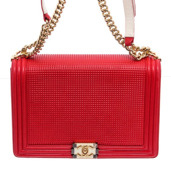Chanel Handbags - Chanel Red Waffle Quilted Large Cube Boy Bag